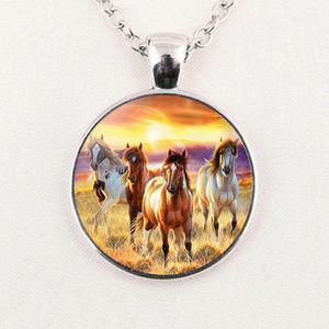 Horses Love Cabochon Pendant Chain Necklace